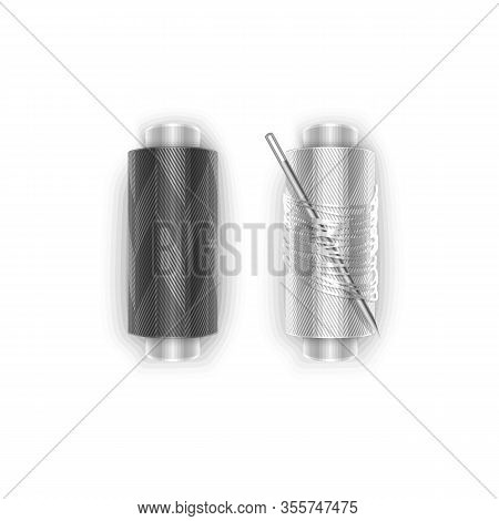 Needle And Threads. Silver Needle, Stack Of 2 Spools Of Black And White Thread, Isolated On White Ba