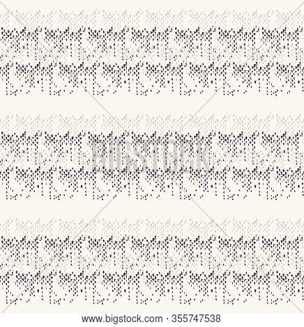 Monochrome Broken Glitch Stripe Texture Background. Distressed Horizontal Dashed Line Dotted Seamles