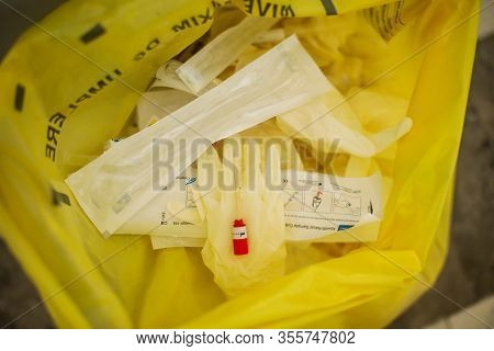 Bucharest, Romania - March 13, 2020: Details With Medical Vials Holding Coronavirus Tests In A Biolo