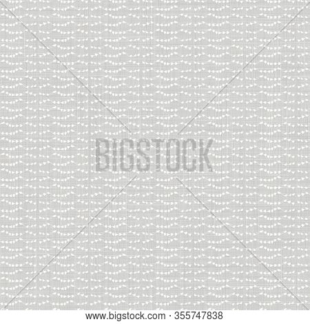Natural Grey French Woven Linen Texture Background. Vintage Printed Wave Stripe Line Seamless Patter