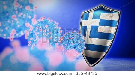 Fight Of The Greece With Coronavirus - 3d Render
