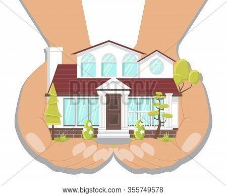 Dream House, Fancy Villa Flat Vector Illustration. Real Estate Agent Offering New Home Variant. Hand