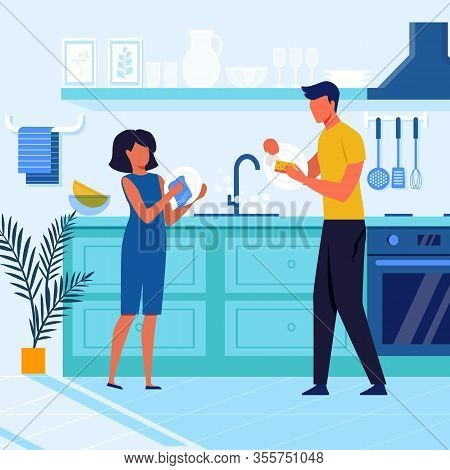 Father And Child Clean Plates Vector Illustration. Little Girl And Father Cartoon Characters. Young