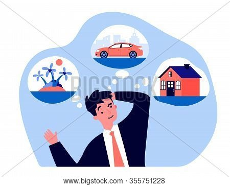 Young Man Thinking About New House, Car And Trip Flat Vector Illustration. Businessman Dreaming For