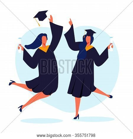 Happy Female Graduates Flat Vector Illustration. Joyful Girls In Mortar Boards And Bachelor Gowns Ca