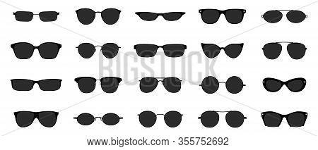 Sunglasses Icon Set. Black Glasses Optic Frames Silhouette. Sun Lens Ocular With Plastic Rims. Vecto