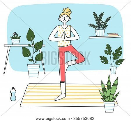 Young Woman Standing At Calm Yoga Posture Flat Vector Illustration. Female Character Doing Morning E