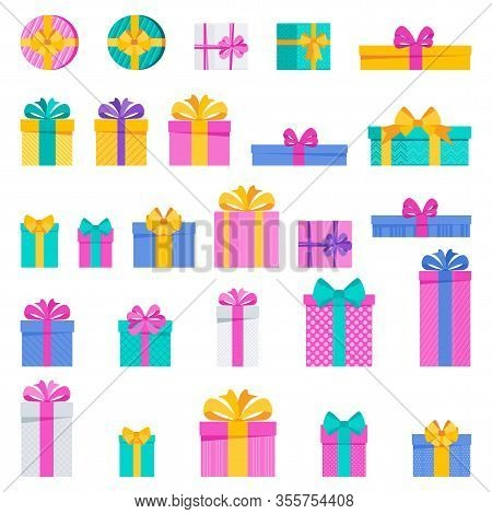 Set Of Bright Fun Holiday Gift Boxes. Element For Cards For Birthday, New Year And Christmas, Annive