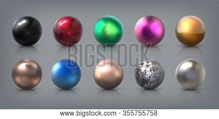 Realistic Metal Balls. 3d Aluminum Steel Bronze Silver And Gold Spheres With Reflections, Bearing Ba