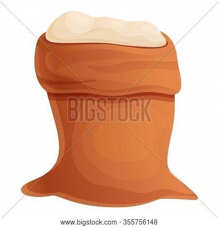 Fresh Sugar Sack Icon. Cartoon Of Fresh Sugar Sack Vector Icon For Web Design Isolated On White Back