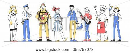 Set Of Professional Characters Flat Vector Illustration. Different Occupations People Standing In Li