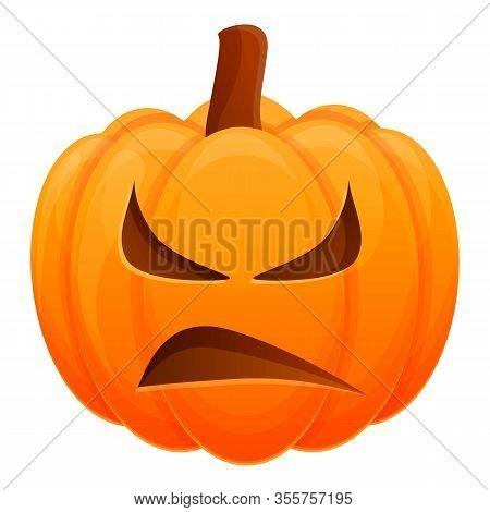 Sad Horror Pumpkin Icon. Cartoon Of Sad Horror Pumpkin Vector Icon For Web Design Isolated On White