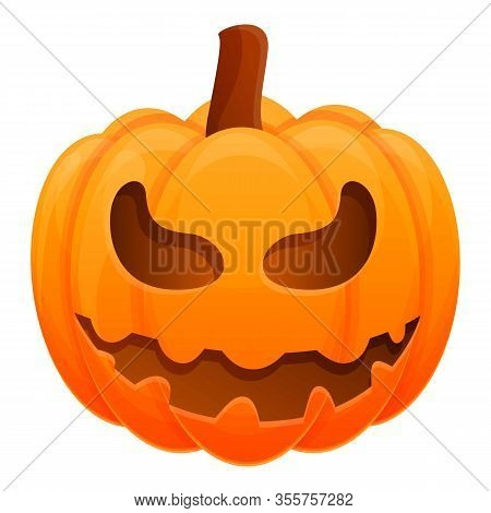 Happy Scary Pumpkin Icon. Cartoon Of Happy Scary Pumpkin Vector Icon For Web Design Isolated On Whit