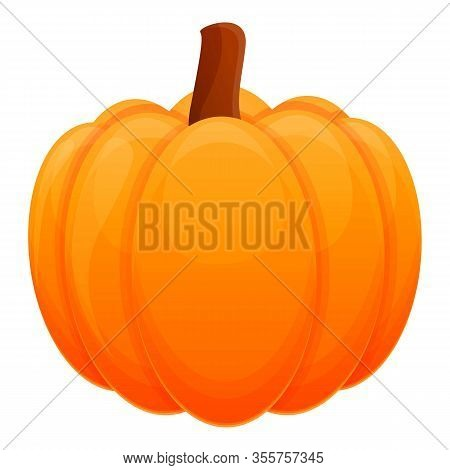 Whole Pumpkin Icon. Cartoon Of Whole Pumpkin Vector Icon For Web Design Isolated On White Background