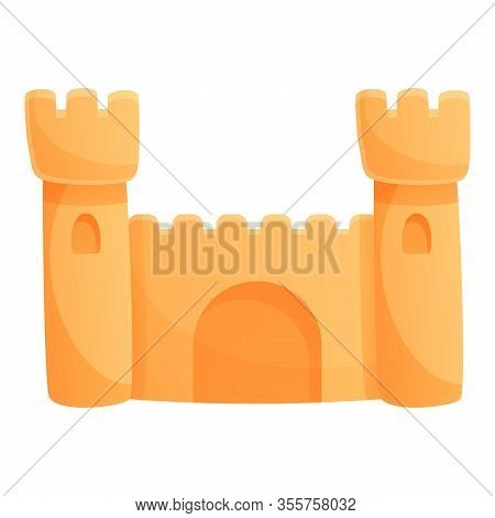 Vacation Sand Castle Icon. Cartoon Of Vacation Sand Castle Vector Icon For Web Design Isolated On Wh