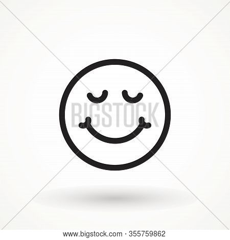 Yummy Smile Emoticon Icon Lick Mouth. Editable Strok Tasty Food Eating Emoji Face. Delicious Cartoon