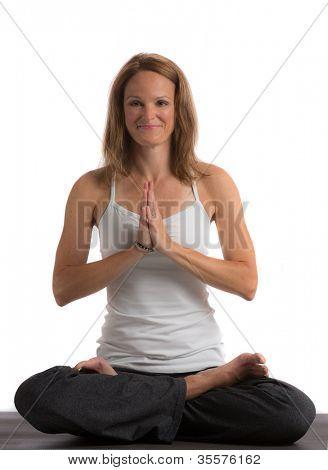 Mid-Age 40s Flexible Female Practicing Yoga on Isolated White background