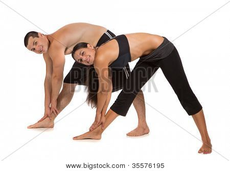 Young Healthy Looking Fit Couple Workout  Together Isolated on White Background