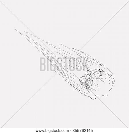 Flying Meteor Icon Line Element. Vector Illustration Of Flying Meteor Icon Line Isolated On Clean Ba