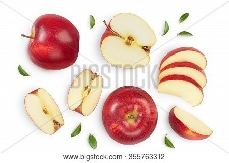 Red Apple With Half Isolated On White Background With Clipping Path And Full Depth Of Field. Top Vie