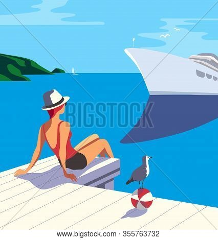 Summer Seaside Flat Color Vector. Blue Ocean Scenic View Poster. Hand Drawn Pop Art Retro Style. Hol