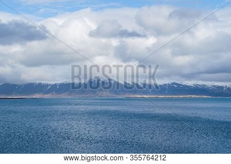 Beautiful View From Reykjavik On Sea And Mountain.