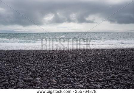 Image Of  Beautiful Beach Djupalonssandur On Iceland.