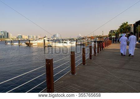 Dubai / Uae - February 21, 2020: Al Seef New Modern Area At Bur Dubai With Restaurants, Cafes And Ma