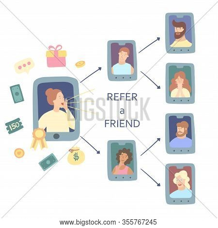Refer A Friend Concept. Attract Friend. Girl Attract People From The List Of Contacts. Friend Sharin