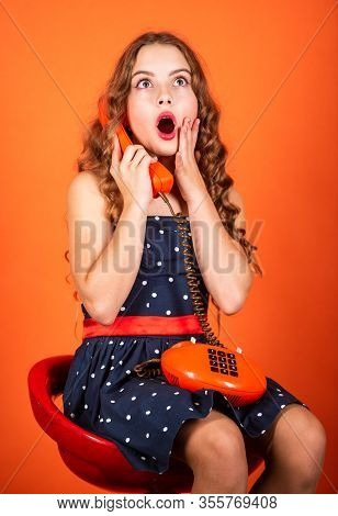Outdated Device. Little Talker. Retro Style. Communication Concept. Shopping Online. Retro Girl Spea