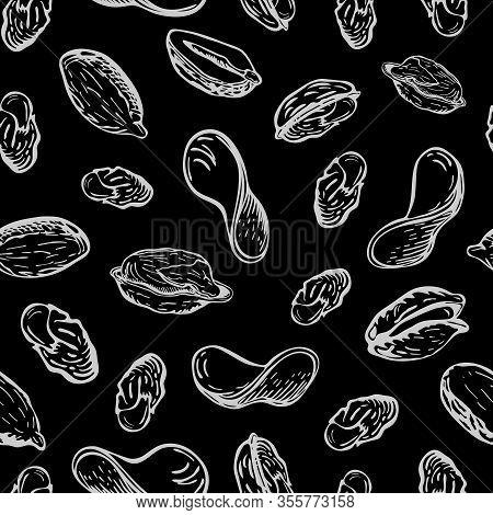 Chalk Drawn Nuts And Fried Potato Chips Pattern On Black Chalkboard. Seamless Snack Background. Sket
