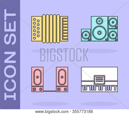 Set Piano, Musical Instrument Accordion, Stereo Speaker And Stereo Speaker Icon. Vector