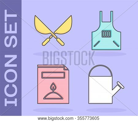 Set Watering Can, Gardening Handmade Scissors, A Pack Full Of Seeds Of A Specific Plant And Kitchen