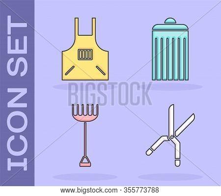 Set Gardening Handmade Scissors, Kitchen Apron, Garden Rake And Trash Can Icon. Vector