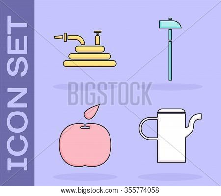 Set Watering Can, Garden Hose Or Fire Hose, Apple And Hammer Icon. Vector