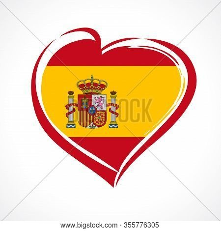 Love Spain, Heart Emblem In National Flag Colors. Spanish Flag In Heart Shape For Celebration Format