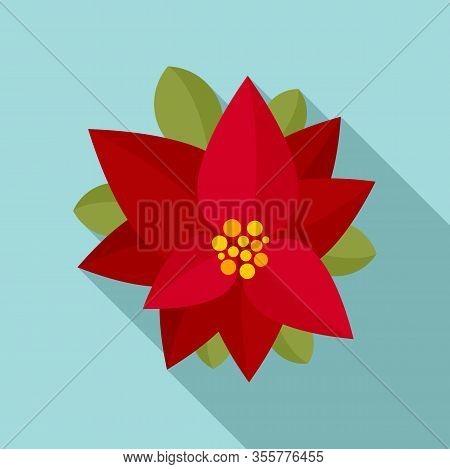 Xmas Poinsettia Icon. Flat Illustration Of Xmas Poinsettia Vector Icon For Web Design