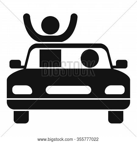 Famous Actor In Cabriolet Icon. Simple Illustration Of Famous Actor In Cabriolet Vector Icon For Web