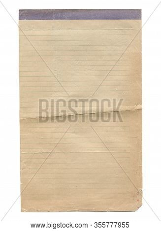 Vertical Closeup Of Blank Notebook Lined Old Aged Paper Texture Background With Wrinkle And Torn Edg