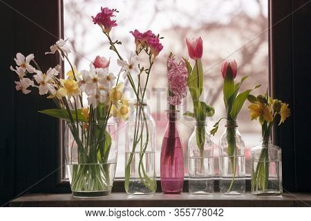 Front View Closeup Of Different Type Of Flowers In Glass Vases Standing By The Window In Day Light