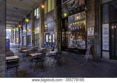 Budapest, Hungary - February 16, 2020: Empty Pubs And Bars On Madach Square Near Deak Ferenc Square