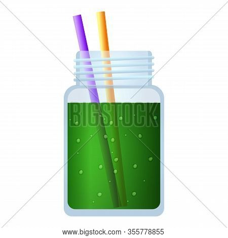 Green Smoothie Jar Icon. Cartoon Of Green Smoothie Jar Vector Icon For Web Design Isolated On White