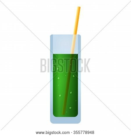 Green Vegan Smoothie Icon. Cartoon Of Green Vegan Smoothie Vector Icon For Web Design Isolated On Wh