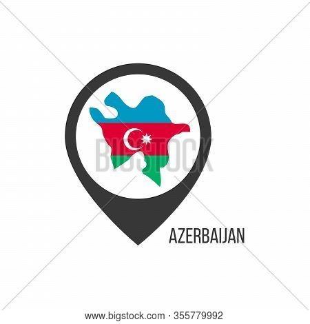 Map Pointers With Contry Azerbaijan. Azerbaijan Flag. Stock Vector Illustration Isolated On White Ba