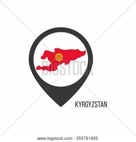 Map Pointers With Contry Kyrgyzstan. Kyrgyzstan Flag. Stock Vector Illustration Isolated On White Ba