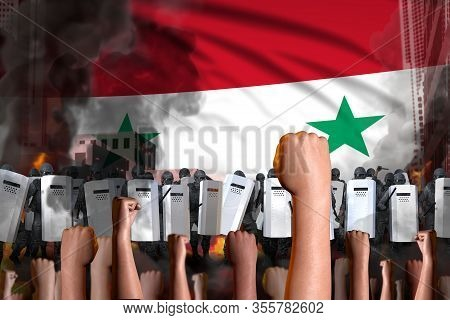 Protest In Syrian Arab Republic - Police Officers Stand Against The Protesting Crowd On Flag Backgro