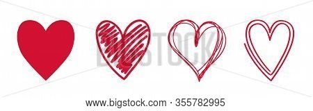 Heart On Isolated White Background. Different Variants Of Love Symbol. Hand Drawn Hearts