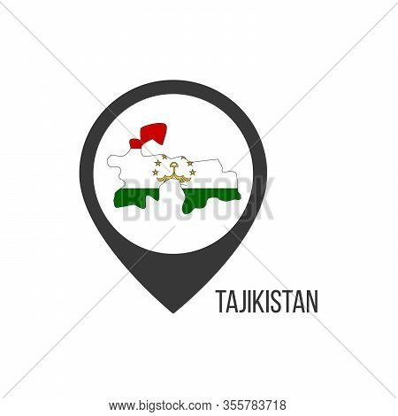 Map Pointers With Contry Tajikistan. Tajikistan Flag. Stock Vector Illustration Isolated On White Ba