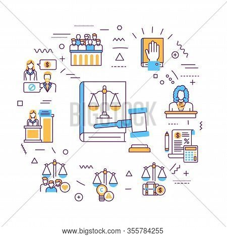 Law And Justice Web Banner. Type Of Court. Judiciary. Court Staff. Infographics With Linear Icons On