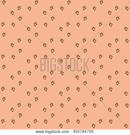 Pink Seamless Pattern With Brown Fox Footprints